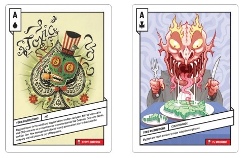 Two examples of the 52 Shades of Greed card deck